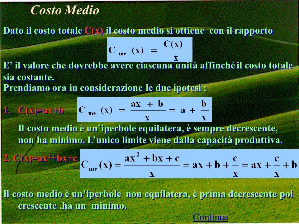 Dato il costo totale C(x) il costo medio si ottiene con il rapporto E il valore che dovrebbe avere ciascuna unità affinché il costo totale sia costante.