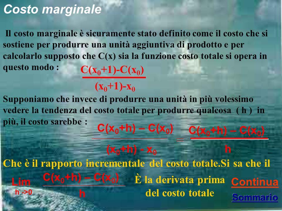 Costo marginale Il costo marginale è sicuramente stato definito come il costo che si sostiene per produrre una unità aggiuntiva di prodotto e per calcolarlo supposto che C(x) sia la funzione costo totale si opera in questo modo : C(x 0 +1)-C(x 0 ) (x 0 +1)-x 0 Supponiamo che invece di produrre una unità in più volessimo vedere la tendenza del costo totale per produrre qualcosa ( h ) in più, il costo sarebbe : C(x 0 +h) – C(x 0 ) (x 0 +h) - x 0 C(x 0 +h) – C(x 0 ) h Lim h ->0 C(x 0 +h) – C(x 0 ) h Continua Che è il rapporto incrementale del costo totale.Si sa che il È la derivata prima del costo totale
