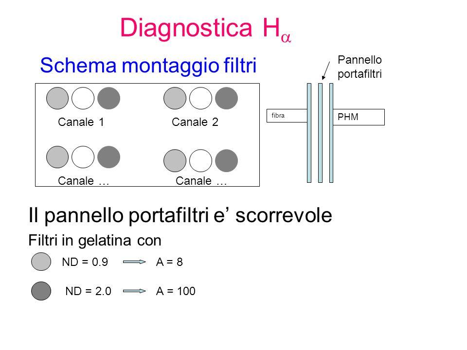 Diagnostica H Schema montaggio filtri Il pannello portafiltri e scorrevole Filtri in gelatina con ND = 0.9 A = 8 ND = 2.0 A = 100 Canale 1Canale 2 Canale … PHM fibra Pannello portafiltri