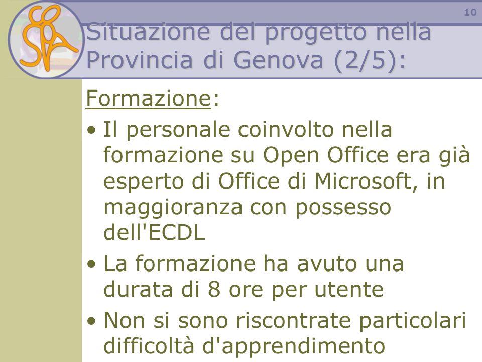 10 Situazione del progetto nella Provincia di Genova (2/5): Formazione: Il personale coinvolto nella formazione su Open Office era già esperto di Offi