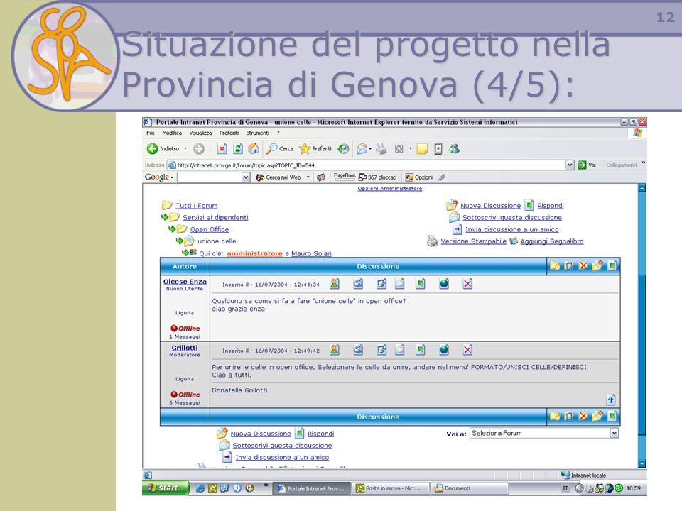 12 Situazione del progetto nella Provincia di Genova (4/5):