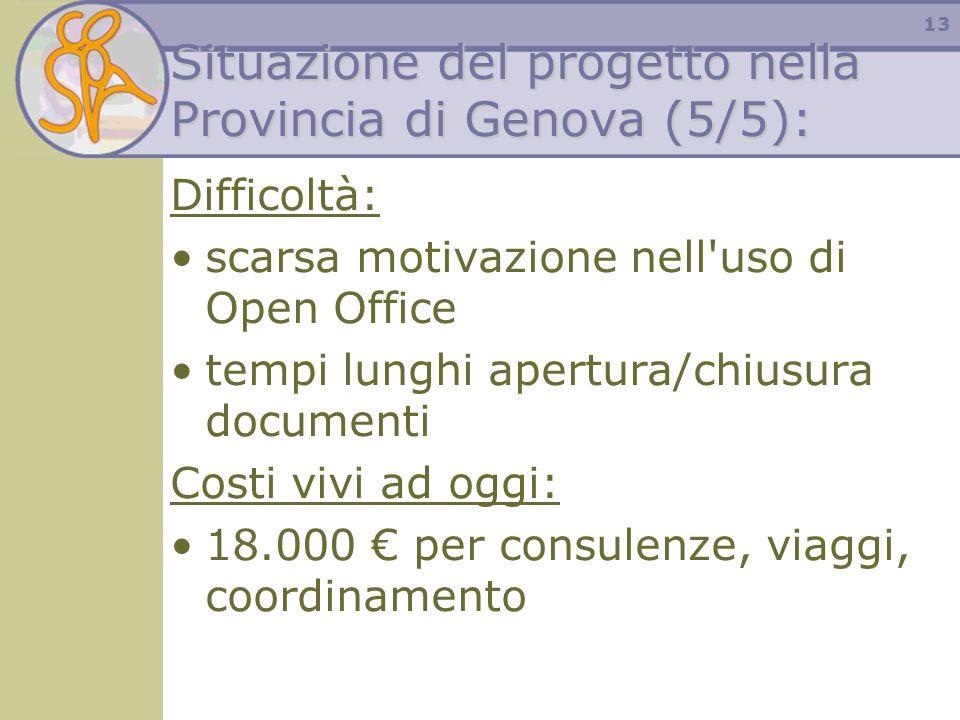 13 Situazione del progetto nella Provincia di Genova (5/5): Difficoltà: scarsa motivazione nell'uso di Open Office tempi lunghi apertura/chiusura docu