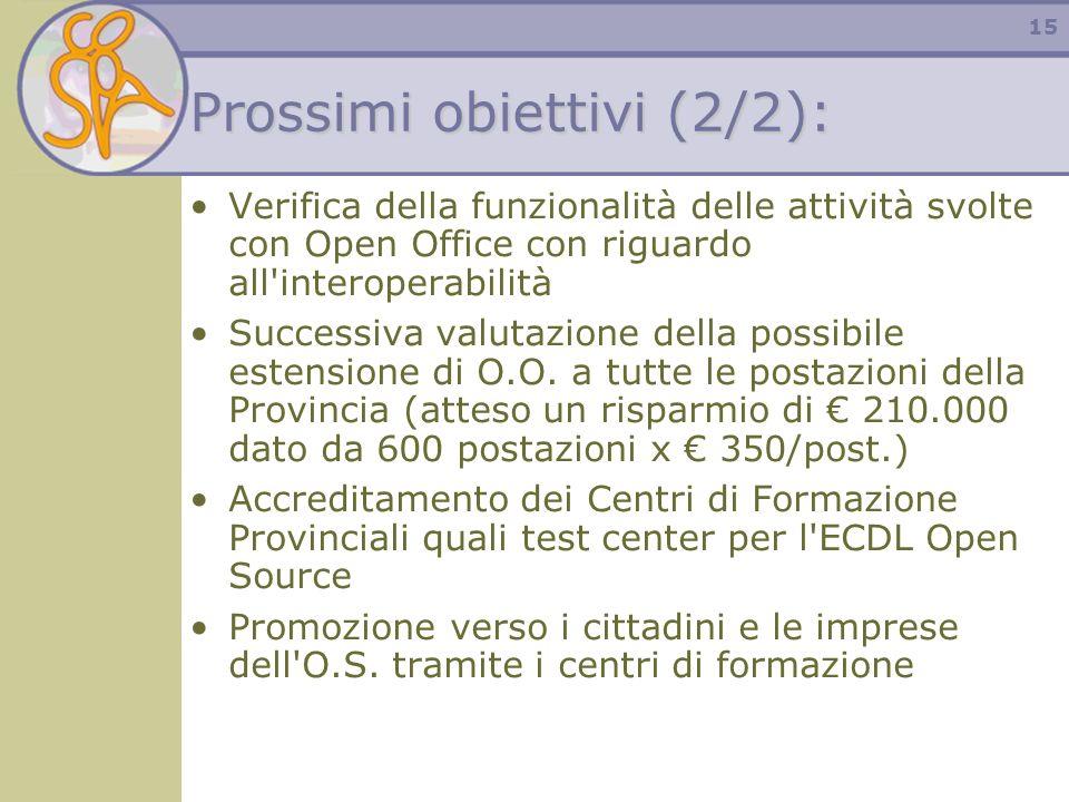 15 Prossimi obiettivi (2/2): Verifica della funzionalità delle attività svolte con Open Office con riguardo all'interoperabilità Successiva valutazion