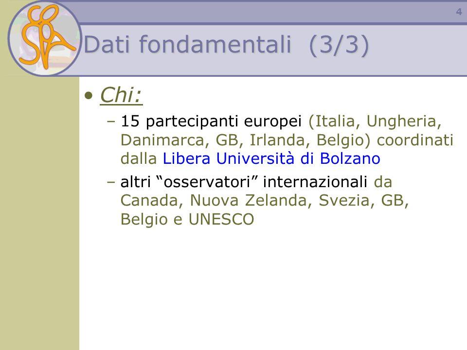4 Dati fondamentali (3/3) Chi: –15 partecipanti europei (Italia, Ungheria, Danimarca, GB, Irlanda, Belgio) coordinati dalla Libera Università di Bolza