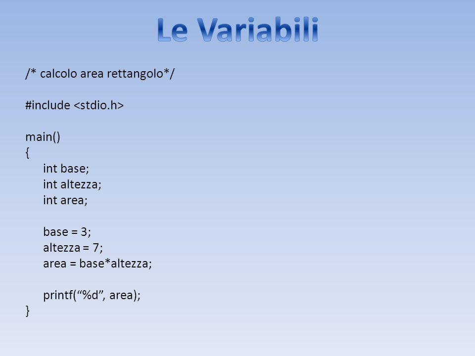 /* calcolo area rettangolo*/ #include main() { int base; int altezza; int area; base = 3; altezza = 7; area = base*altezza; printf(%d, area); }