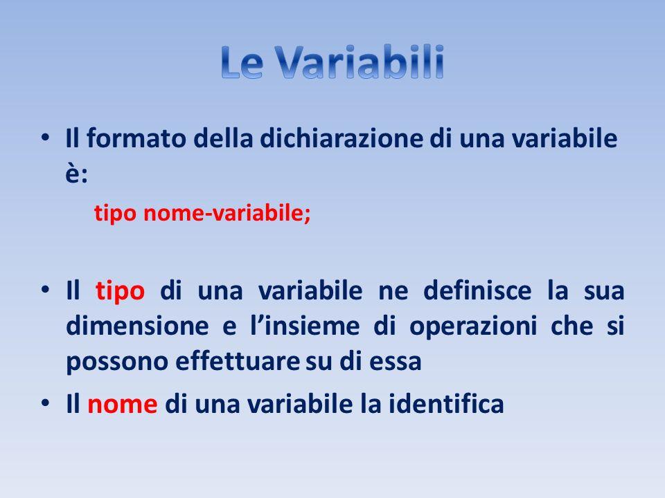 Il formato della dichiarazione di una variabile è: tipo nome-variabile; Il tipo di una variabile ne definisce la sua dimensione e linsieme di operazio