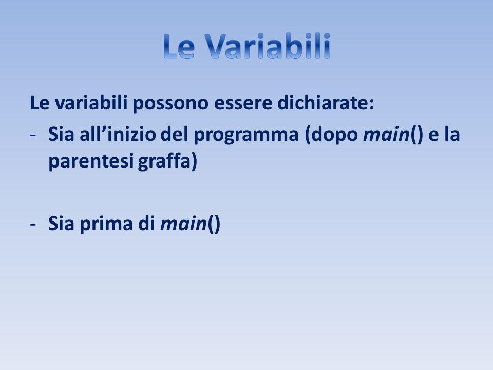 Le variabili possono essere dichiarate: -Sia allinizio del programma (dopo main() e la parentesi graffa) -Sia prima di main()