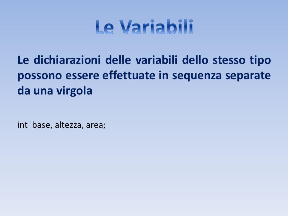 Le dichiarazioni delle variabili dello stesso tipo possono essere effettuate in sequenza separate da una virgola int base, altezza, area;