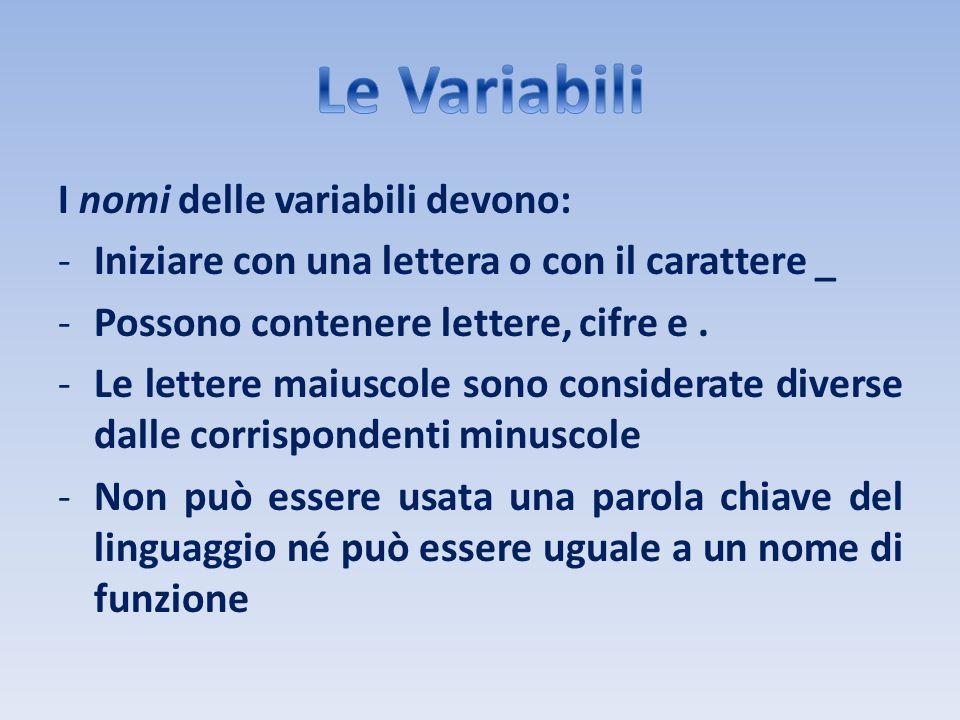 I nomi delle variabili devono: -Iniziare con una lettera o con il carattere _ -Possono contenere lettere, cifre e. -Le lettere maiuscole sono consider