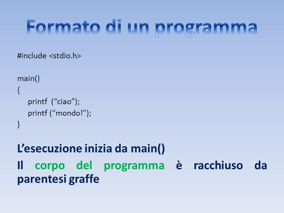Il formato della dichiarazione di una variabile è: tipo nome-variabile; Il tipo di una variabile ne definisce la sua dimensione e linsieme di operazioni che si possono effettuare su di essa Il nome di una variabile la identifica