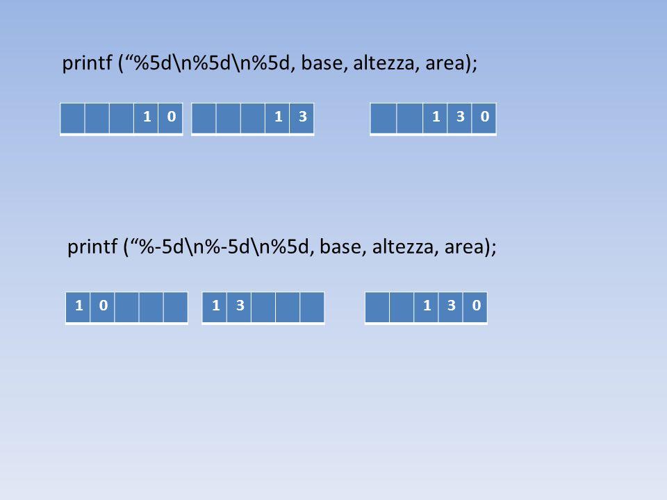 printf (%5d\n%5d\n%5d, base, altezza, area); 10 13130 printf (%-5d\n%-5d\n%5d, base, altezza, area); 1313010