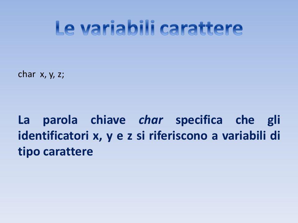 char x, y, z; La parola chiave char specifica che gli identificatori x, y e z si riferiscono a variabili di tipo carattere