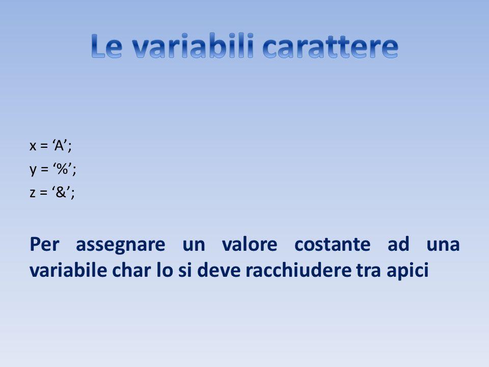 x = A; y = %; z = &; Per assegnare un valore costante ad una variabile char lo si deve racchiudere tra apici