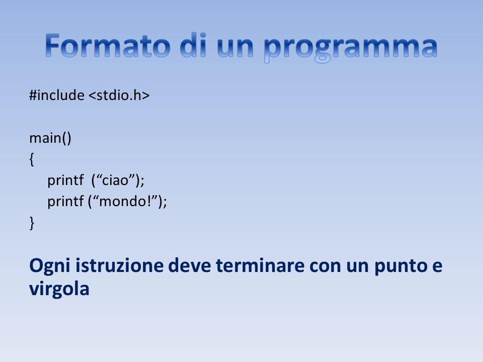 #include main() { printf (ciao); printf (mondo!); } Ogni istruzione deve terminare con un punto e virgola