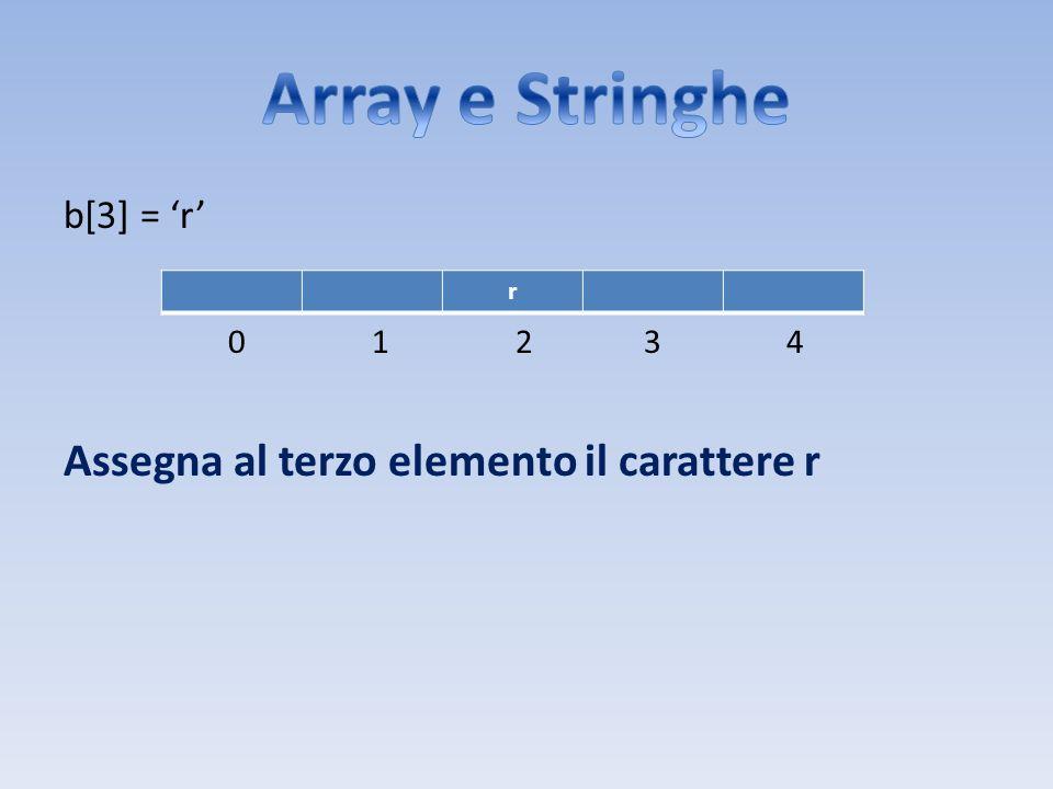b[3] = r 0 1 2 3 4 Assegna al terzo elemento il carattere r r