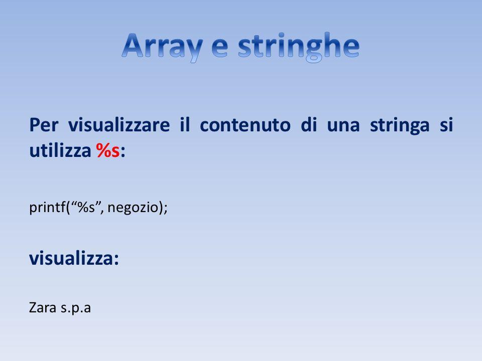 Per visualizzare il contenuto di una stringa si utilizza %s: printf(%s, negozio); visualizza: Zara s.p.a