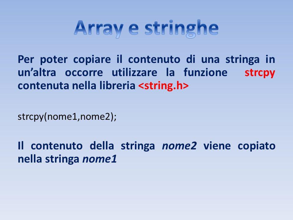 Per poter copiare il contenuto di una stringa in unaltra occorre utilizzare la funzione strcpy contenuta nella libreria strcpy(nome1,nome2); Il conten