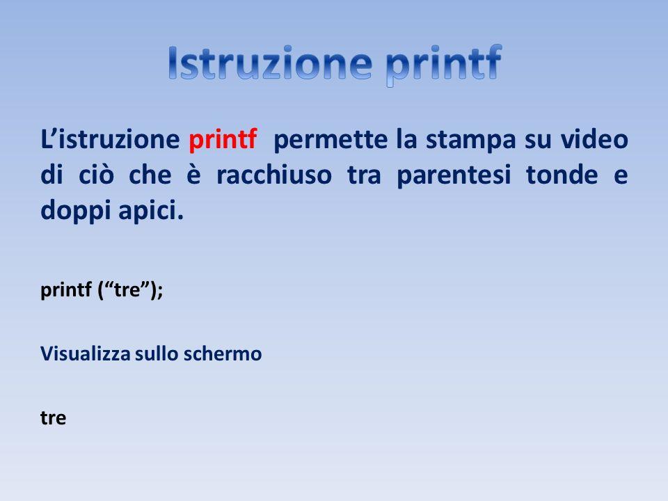 Listruzione printf permette la stampa su video di ciò che è racchiuso tra parentesi tonde e doppi apici. printf (tre); Visualizza sullo schermo tre