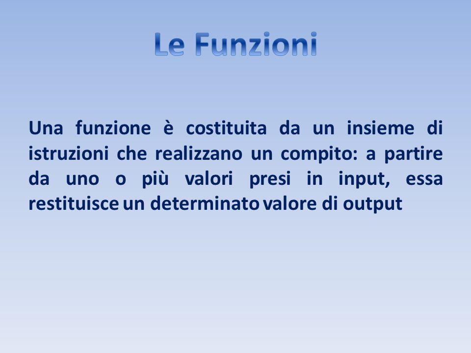 Una funzione è costituita da un insieme di istruzioni che realizzano un compito: a partire da uno o più valori presi in input, essa restituisce un det