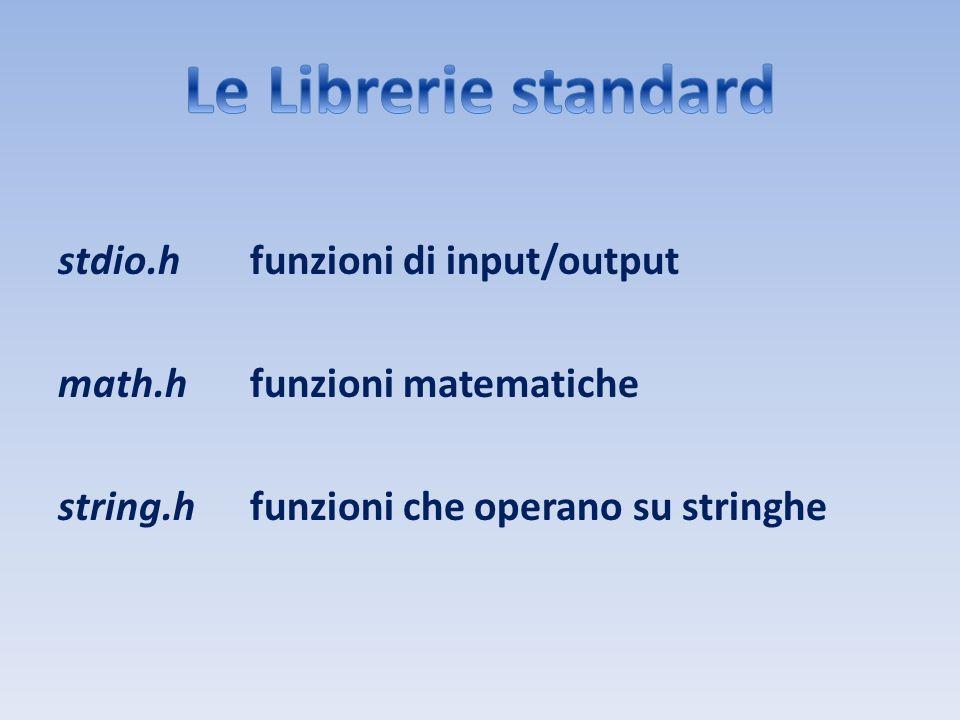 stdio.hfunzioni di input/output math.hfunzioni matematiche string.hfunzioni che operano su stringhe
