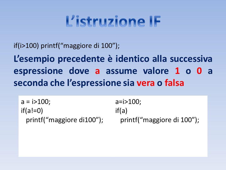 if(i>100) printf(maggiore di 100); Lesempio precedente è identico alla successiva espressione dove a assume valore 1 o 0 a seconda che lespressione si