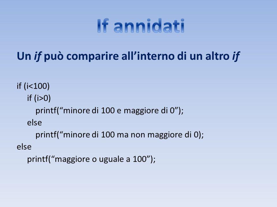 Un if può comparire allinterno di un altro if if (i<100) if (i>0) printf(minore di 100 e maggiore di 0); else printf(minore di 100 ma non maggiore di