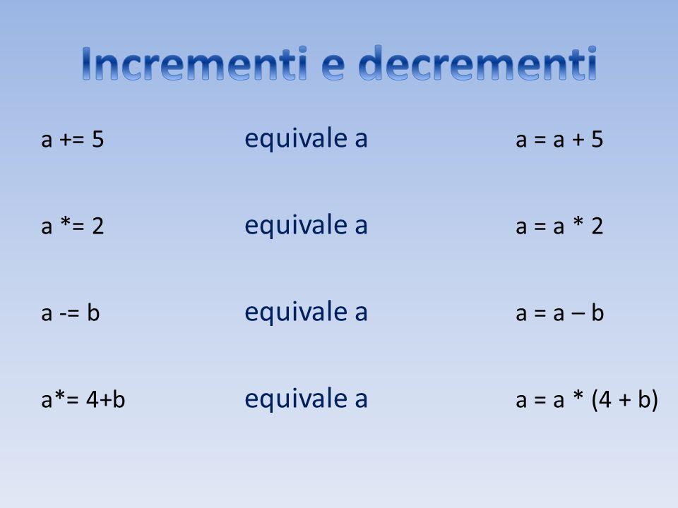 a += 5 equivale a a = a + 5 a *= 2 equivale a a = a * 2 a -= b equivale a a = a – b a*= 4+b equivale a a = a * (4 + b)