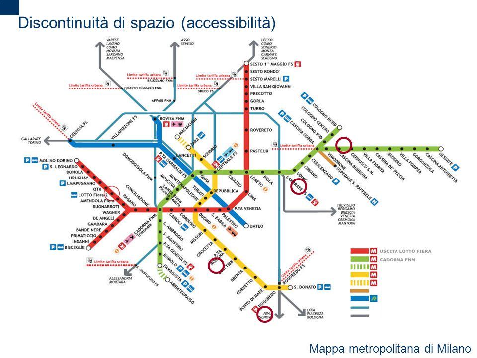2 Discontinuità di spazio (accessibilità) Mappa metropolitana di Milano