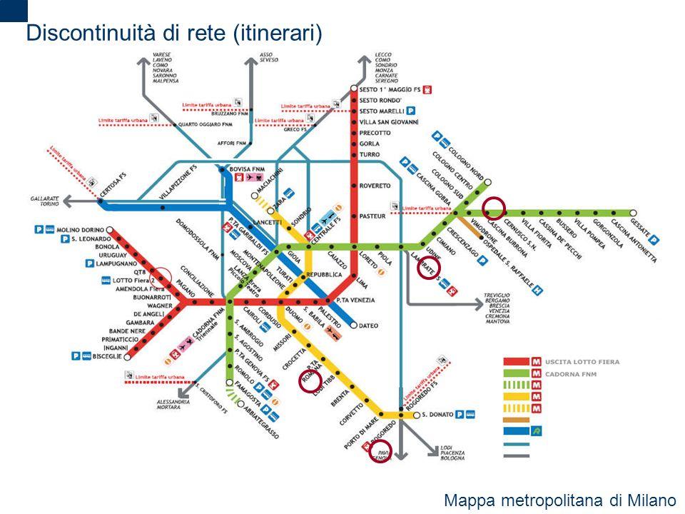 2 Discontinuità di rete (itinerari) Mappa metropolitana di Milano