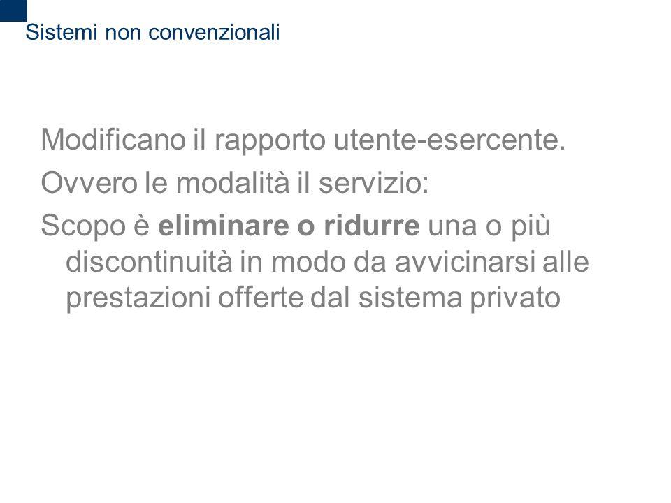 2 Sistemi non convenzionali Modificano il rapporto utente-esercente. Ovvero le modalità il servizio: Scopo è eliminare o ridurre una o più discontinui