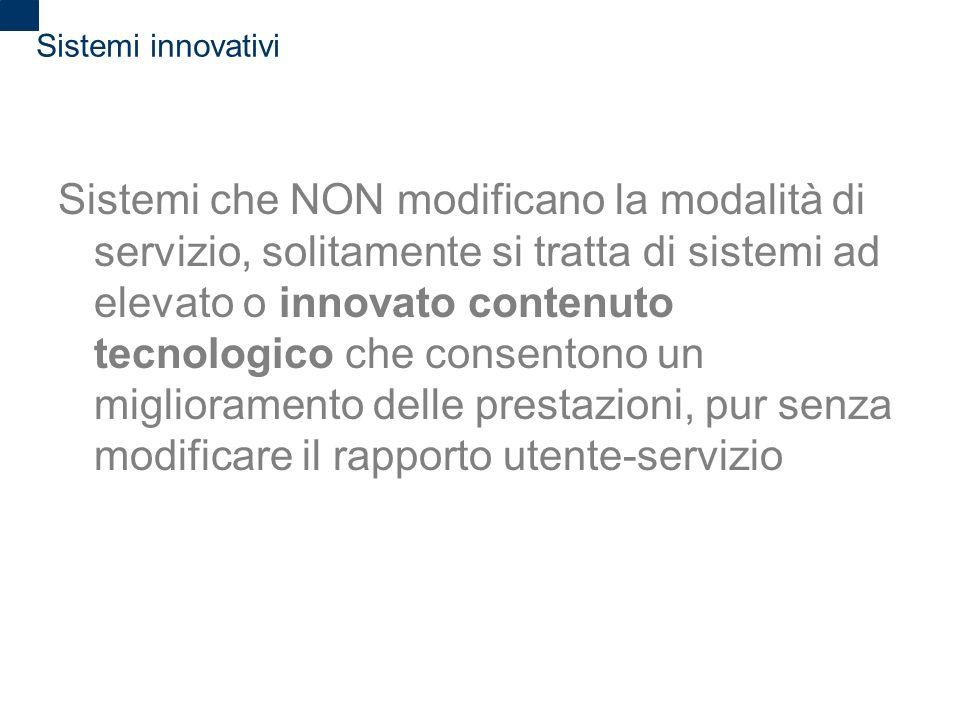 2 Sistemi innovativi Sistemi che NON modificano la modalità di servizio, solitamente si tratta di sistemi ad elevato o innovato contenuto tecnologico