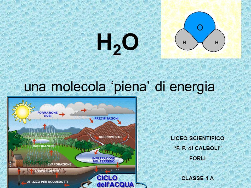 H 2 O una molecola piena di energia LICEO SCIENTIFICO F. P. di CALBOLI FORLì CLASSE 1 A