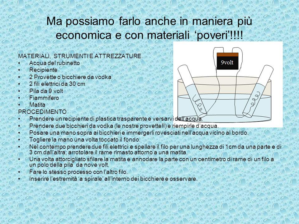 Ma possiamo farlo anche in maniera più economica e con materiali poveri!!!! MATERIALI, STRUMENTI E ATTREZZATURE. Acqua del rubinetto Recipiente 2 Prov