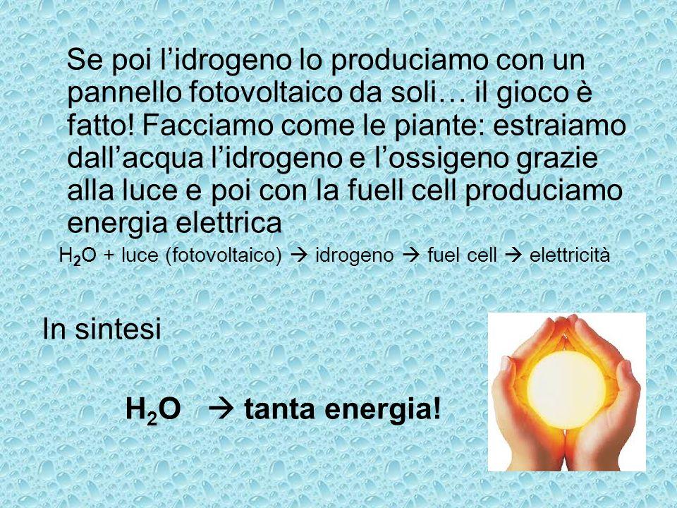 Se poi lidrogeno lo produciamo con un pannello fotovoltaico da soli… il gioco è fatto! Facciamo come le piante: estraiamo dallacqua lidrogeno e lossig