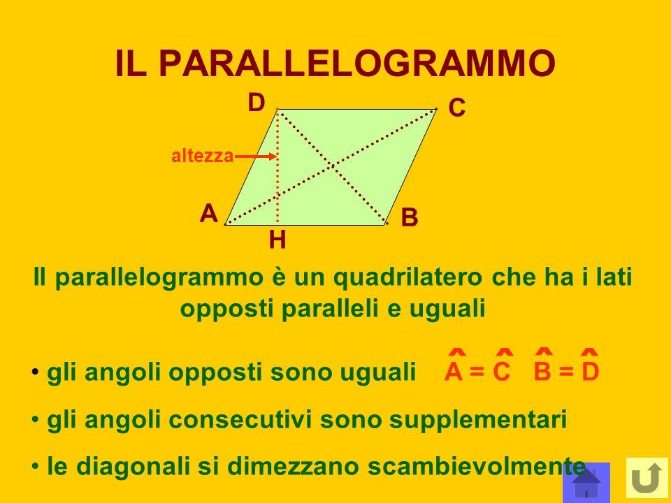 IL PARALLELOGRAMMO A B C D H Il parallelogrammo è un quadrilatero che ha i lati opposti paralleli e uguali altezza gli angoli opposti sono uguali A =