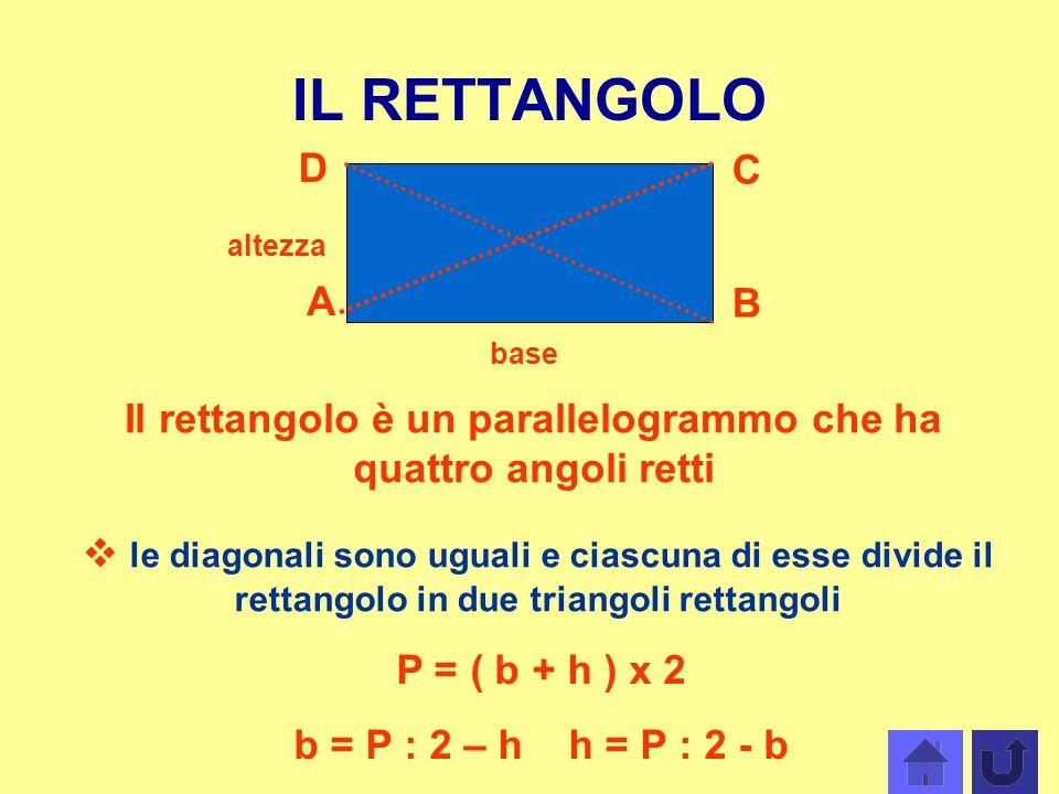 IL RETTANGOLO A B C D Il rettangolo è un parallelogrammo che ha quattro angoli retti base altezza le diagonali sono uguali e ciascuna di esse divide i