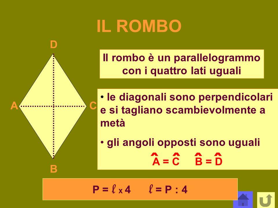 IL ROMBO A B C D Il rombo è un parallelogrammo con i quattro lati uguali le diagonali sono perpendicolari e si tagliano scambievolmente a metà gli ang