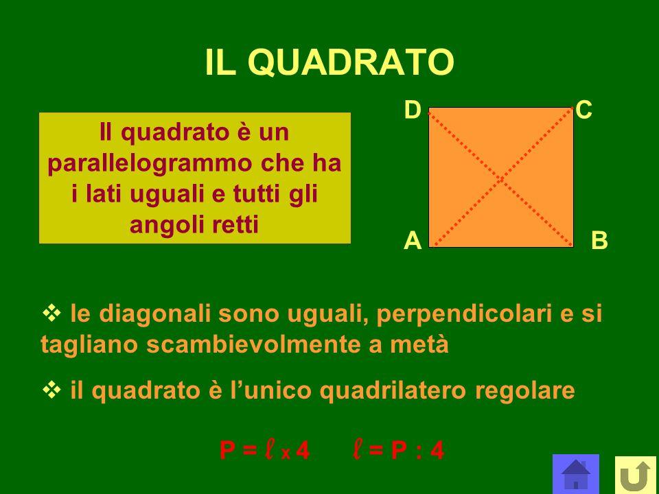 IL QUADRATO AB CD Il quadrato è un parallelogrammo che ha i lati uguali e tutti gli angoli retti le diagonali sono uguali, perpendicolari e si taglian