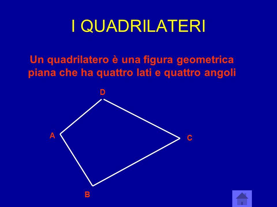I QUADRILATERI Un quadrilatero è una figura geometrica piana che ha quattro lati e quattro angoli A B C D