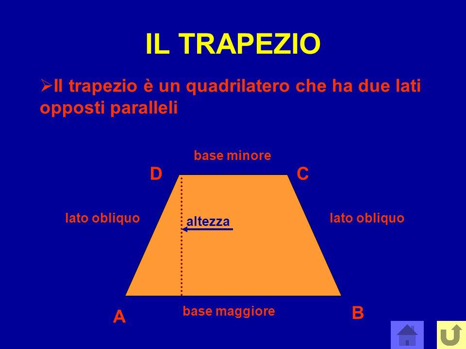 IL TRAPEZIO Il trapezio è un quadrilatero che ha due lati opposti paralleli base minore base maggiore lato obliquo A B CD altezza
