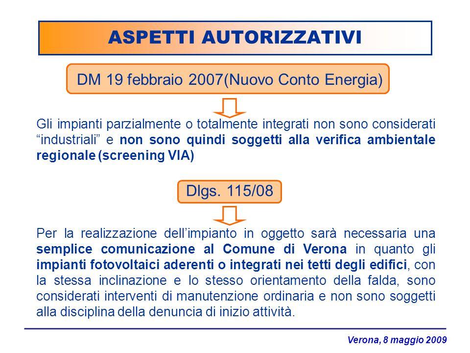 Verona, 8 maggio 2009 ASPETTI AUTORIZZATIVI DM 19 febbraio 2007(Nuovo Conto Energia) Gli impianti parzialmente o totalmente integrati non sono conside