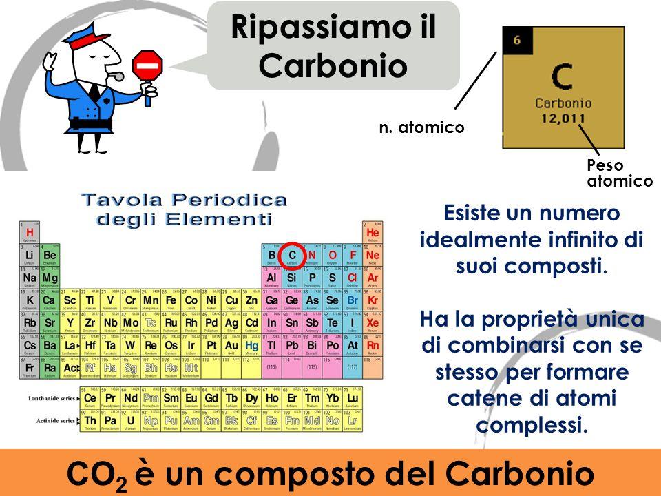 n. atomico Ripassiamo il Carbonio Peso atomico Esiste un numero idealmente infinito di suoi composti. Ha la proprietà unica di combinarsi con se stess