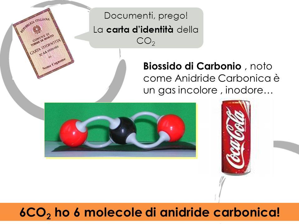 Biossido di Carbonio, noto come Anidride Carbonica è un gas incolore, inodore… Documenti, prego! La carta didentità della CO 2 6CO 2 ho 6 molecole di