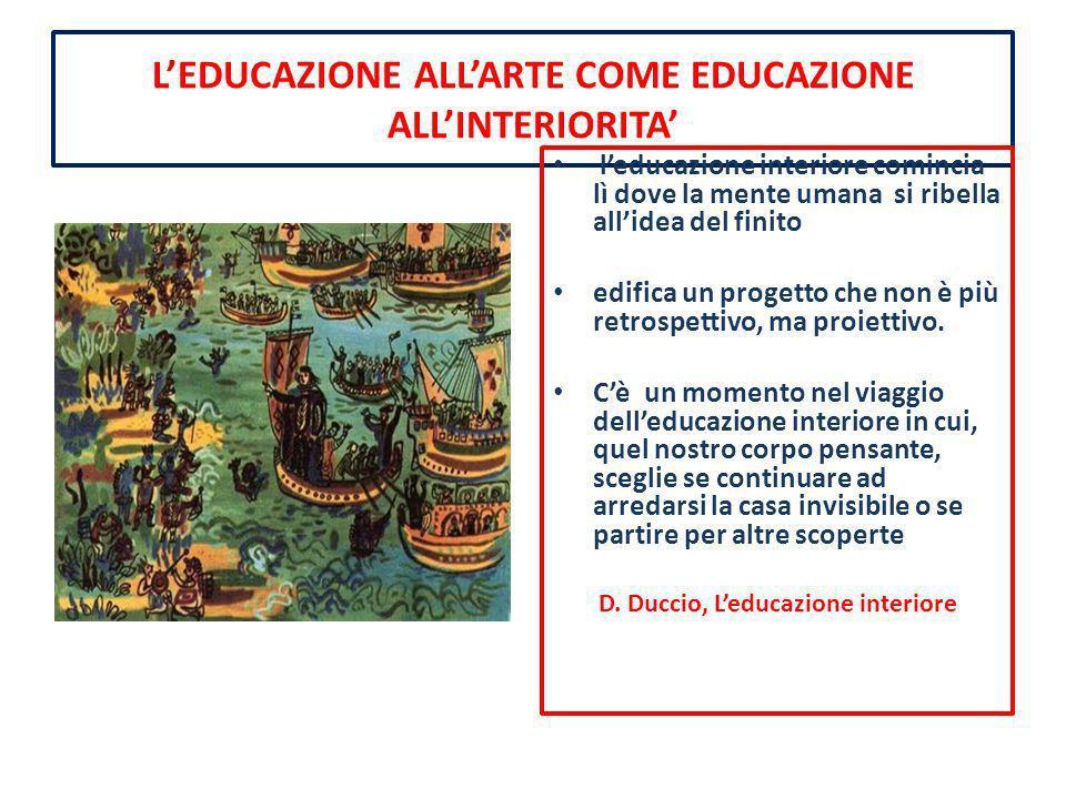 LEDUCAZIONE ALLARTE COME EDUCAZIONE ALLINTERIORITA leducazione interiore comincia lì dove la mente umana si ribella allidea del finito edifica un prog