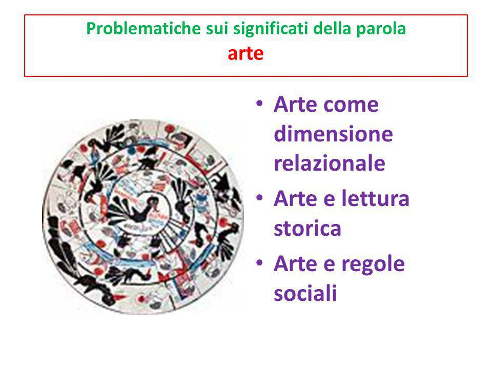 Problematiche sui significati della parola arte Arte come dimensione relazionale Arte e lettura storica Arte e regole sociali