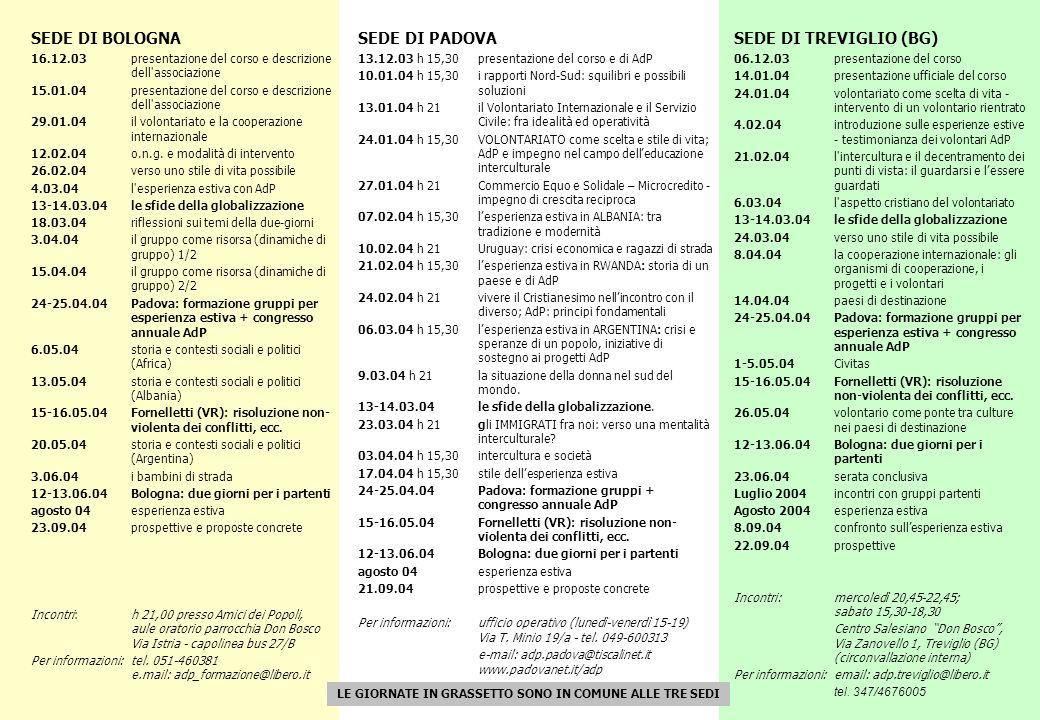 SEDE DI BOLOGNA 16.12.03 presentazione del corso e descrizione dell associazione 15.01.04 presentazione del corso e descrizione dell associazione 29.01.04 il volontariato e la cooperazione internazionale 12.02.04 o.n.g.