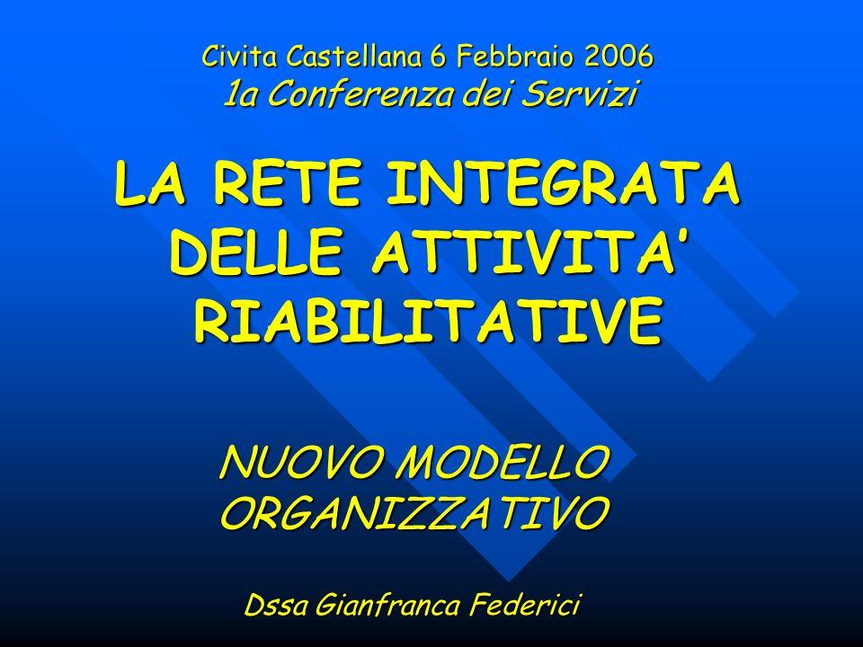 Civita Castellana 6 Febbraio 2006 1a Conferenza dei Servizi LA RETE INTEGRATA DELLE ATTIVITA RIABILITATIVE NUOVO MODELLO ORGANIZZATIVO Dssa Gianfranca