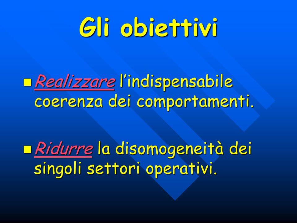 Gli obiettivi Realizzare lindispensabile coerenza dei comportamenti. Realizzare lindispensabile coerenza dei comportamenti. Ridurre la disomogeneità d