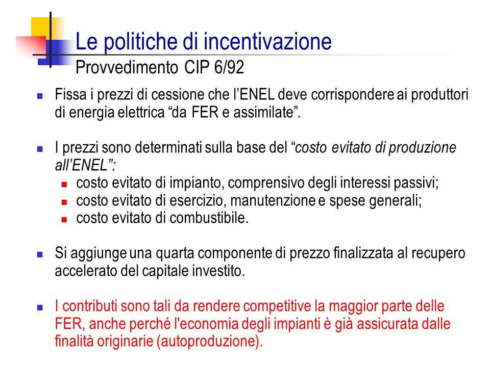 Le politiche di incentivazione Provvedimento CIP 6/92 Fissa i prezzi di cessione che lENEL deve corrispondere ai produttori di energia elettrica da FE