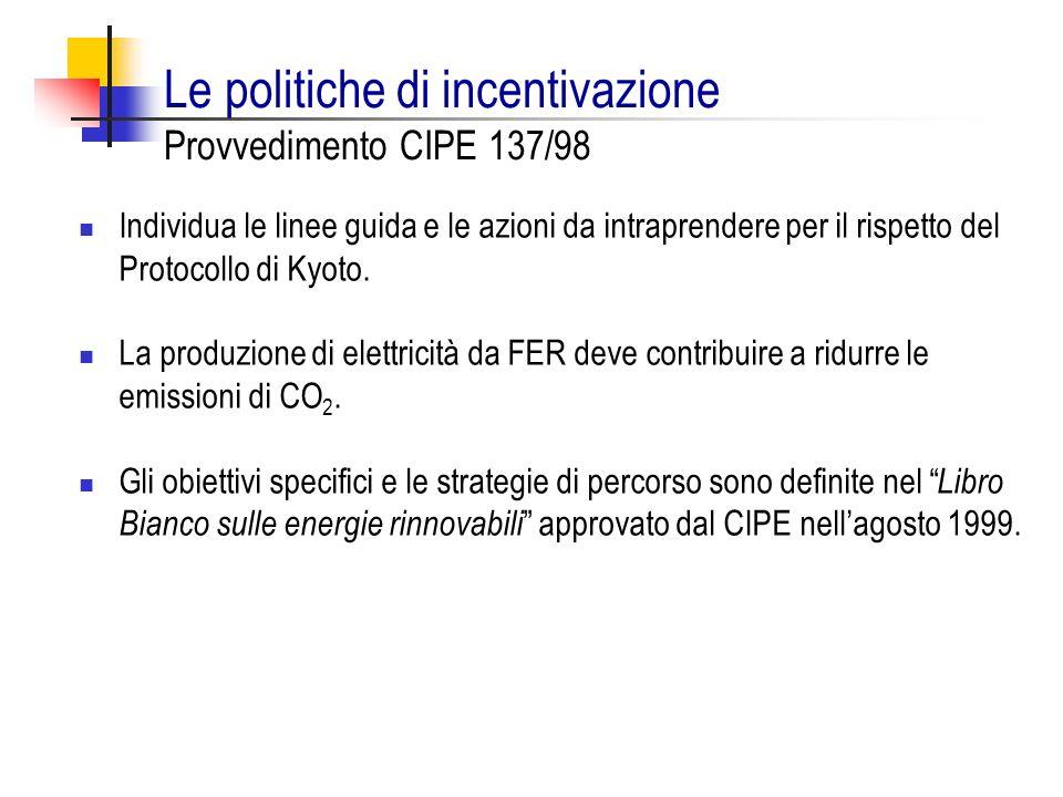 Le politiche di incentivazione Provvedimento CIPE 137/98 Individua le linee guida e le azioni da intraprendere per il rispetto del Protocollo di Kyoto